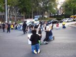 Moral Monday protesters block an intersection.